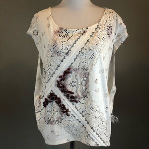 Free People White Cap Sleeved Printed Tunic Top